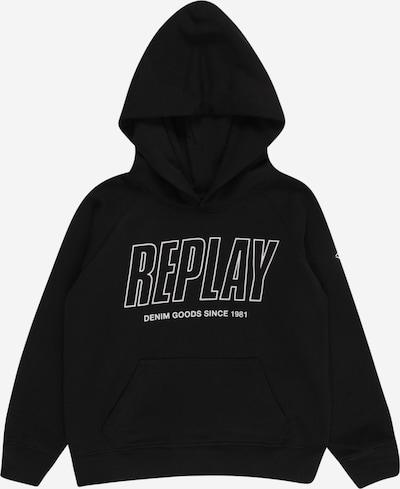 Bluză de molton REPLAY pe negru / alb, Vizualizare produs