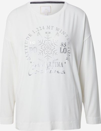 La Martina T-shirt en argent / blanc, Vue avec produit