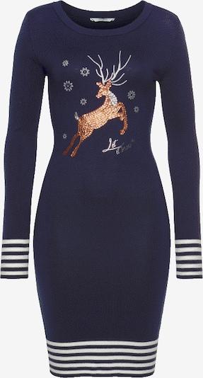 Tom Tailor Polo Team Strickkleid in marine / braun / weiß, Produktansicht