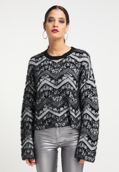 faina Pullover in grau / schwarz, Modelansicht