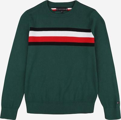 TOMMY HILFIGER Pullover 'ESSENTIAL' in dunkelgrün / rot / schwarz / weiß, Produktansicht