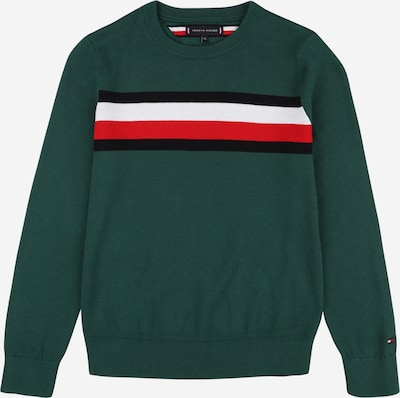 TOMMY HILFIGER Sweater 'ESSENTIAL' in dark green / red / black / white, Item view