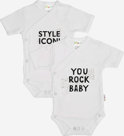 "LILIPUT Wickelbody, kurzarm (2er Pack) ""STYLE ICON / YOU ROCK BABY"" in weiß, Produktansicht"
