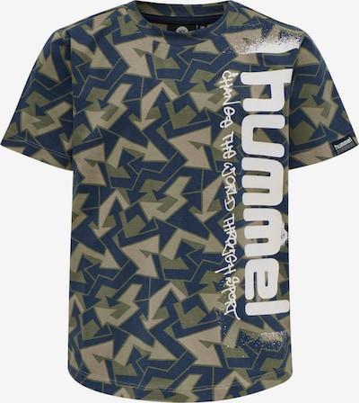 Hummel Functioneel shirt in de kleur Blauw / Groen / Kaki / Wit, Productweergave