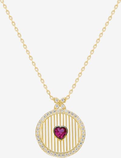 Dkeniz Silberkette Runde Kette mit rotem Herz in gold / rot, Produktansicht