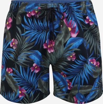 BOSS Badeshorts 'Turtle' in hellblau / dunkelblau / dunkelgrün / lila, Produktansicht