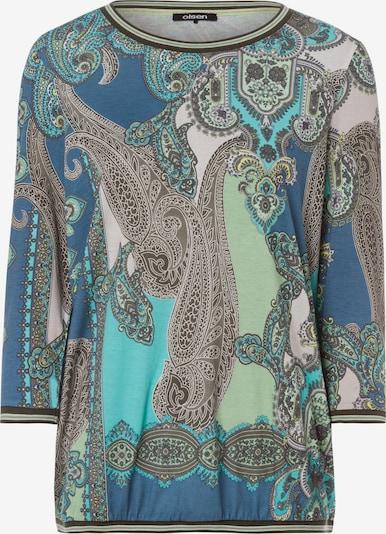 Olsen Shirt 'Clara' in blau / türkis / braun / hellgrün / weiß, Produktansicht