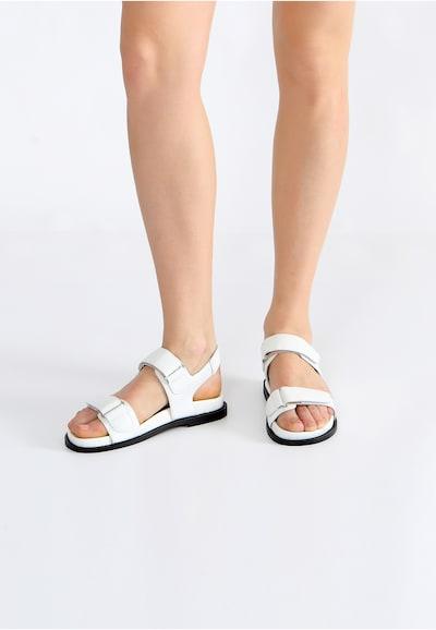 Ekonika Bequeme Sandalen aus hochwertigem Leder in weiß: Frontalansicht