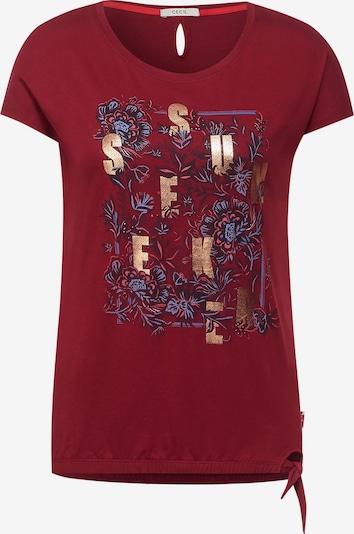 CECIL T-Shirt in bronze / dunkellila / lachs / burgunder, Produktansicht