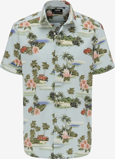 PIONEER Hemd in hellblau / grasgrün / rosé, Produktansicht