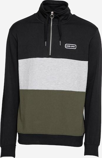 SHINE ORIGINAL Sweatshirt in graumeliert / oliv / schwarz, Produktansicht
