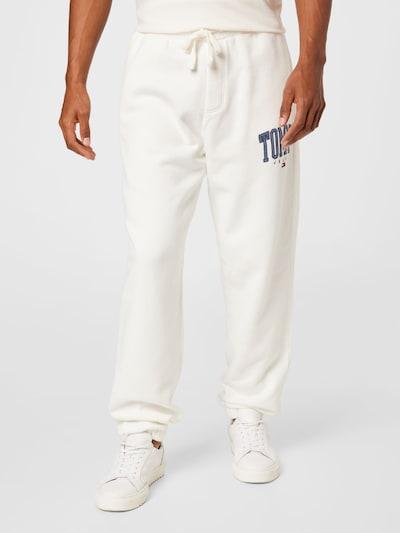 Tommy Jeans Παντελόνι σε κρεμ / μπλε περιστεριού / κόκκινο / λευκό, Άποψη μοντέλου