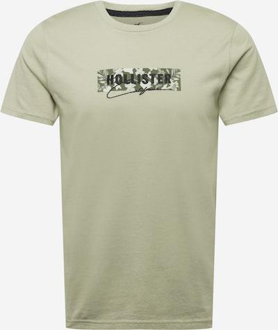 HOLLISTER Тениска в кремаво / светлозелено / черно: Изглед отпред