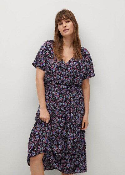 MANGO Kleid in lila / pink / schwarz, Modelansicht