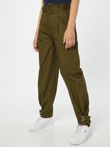 žalia Tommy Jeans Laisvo stiliaus kelnės