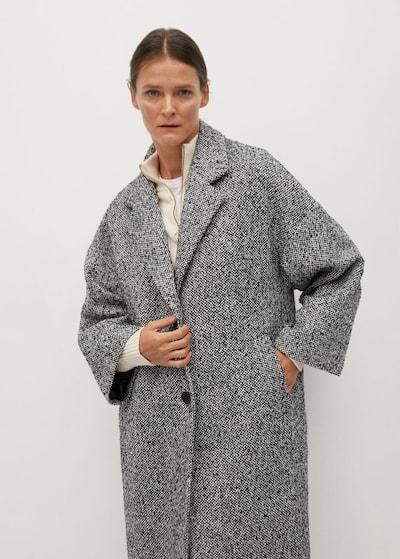 MANGO Преходно палто в бял меланж, Преглед на модела