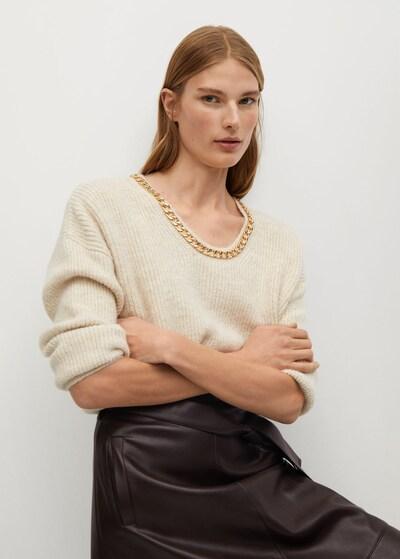 MANGO Sweater 'Cadeneta' in Beige / Gold: Frontal view