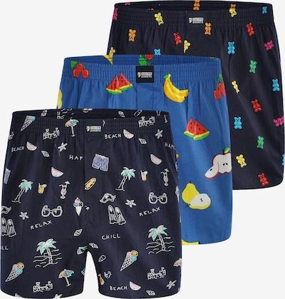 Happy Shorts Boxers ' Motivprint ' en bleu / noir, Vue avec produit