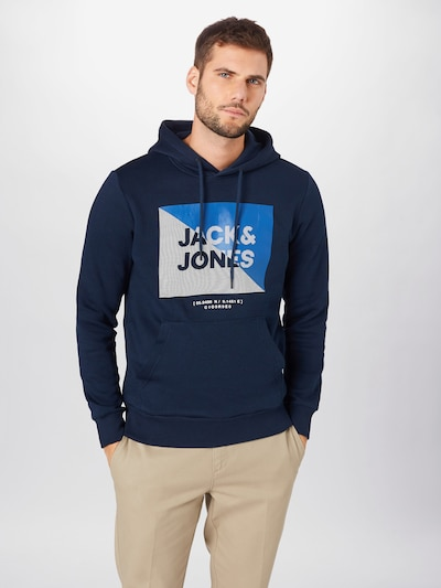 JACK & JONES Sweatshirt 'LAMBO' in navy / himmelblau / weiß: Frontalansicht
