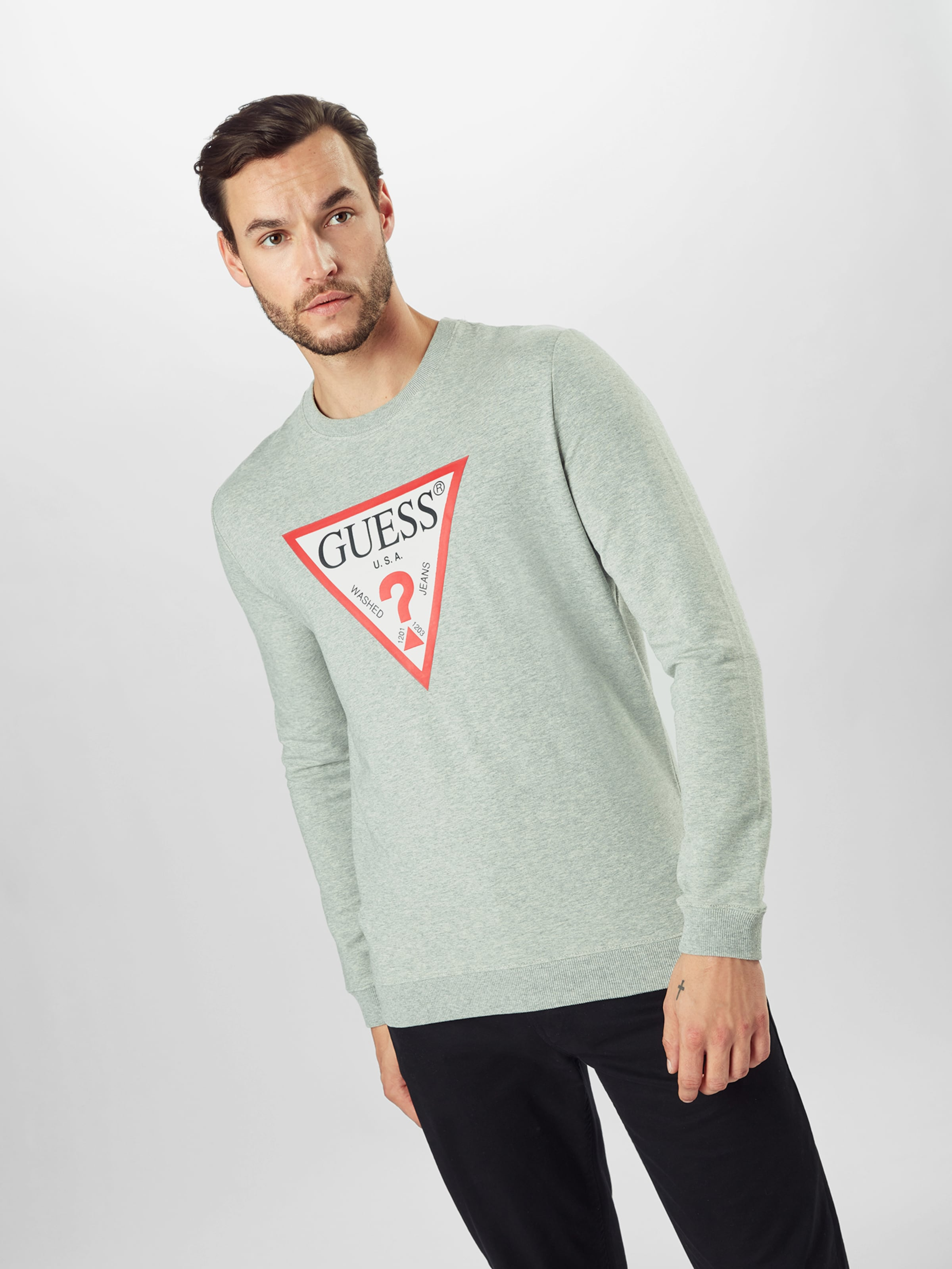 GUESS Sweatshirt in graumeliert / rot / weiß Sweatstoff GUE1796004000001