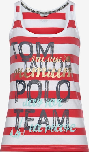 Tom Tailor Polo Team Top in dunkelblau / gold / rot / weiß, Produktansicht