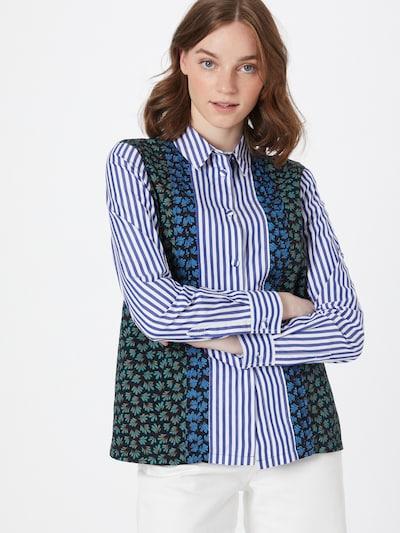 WOOD WOOD Bluse 'Catherine' in blau / schwarz / weiß, Modelansicht