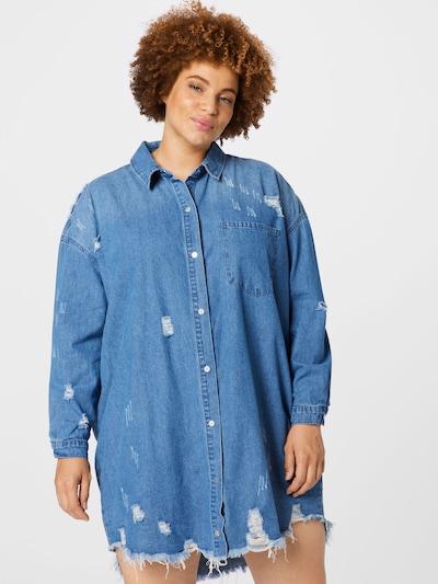 Missguided Plus Shirt Dress in Blue denim, View model