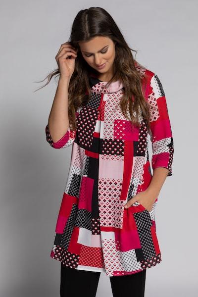 Ulla Popken Kleid in pink / schwarz / weiß, Modelansicht