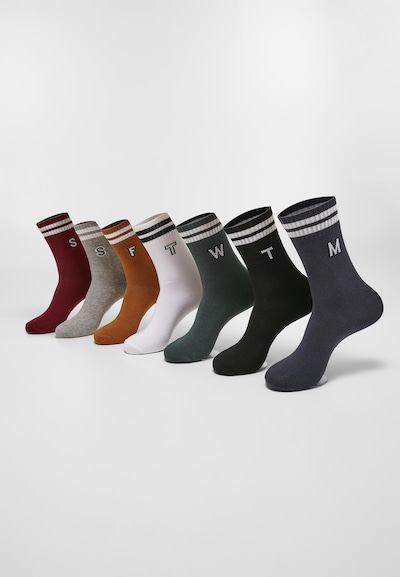 Urban Classics Socken 'College Letter Socks 7-Pack' in weiß, Produktansicht