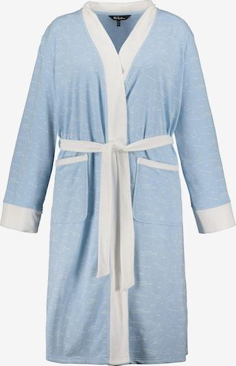 Ulla Popken Long Bathrobe in Pastel blue / White, Item view