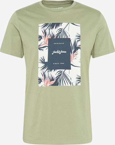 JACK & JONES T-Krekls naktszils / gaiši zaļš / koraļļu / balts, Preces skats