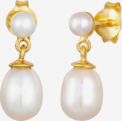 ELLI PREMIUM Ohrringe Perle, Perlenohrhänger in gold / perlweiß, Produktansicht