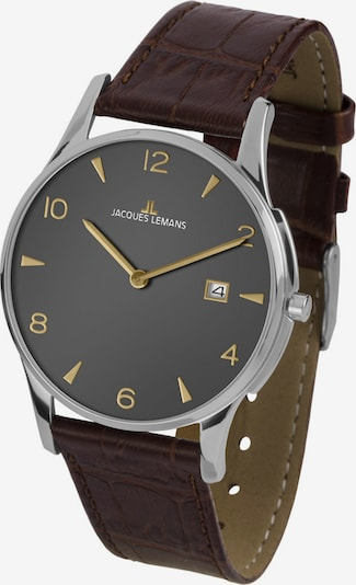 Jacques Lemans Uhr in dunkelbraun / gold / silber, Produktansicht