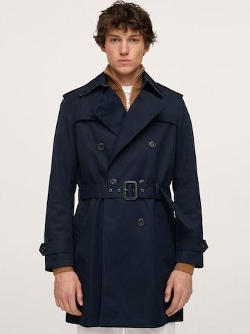 MANGO MAN Преходно палто в синьо