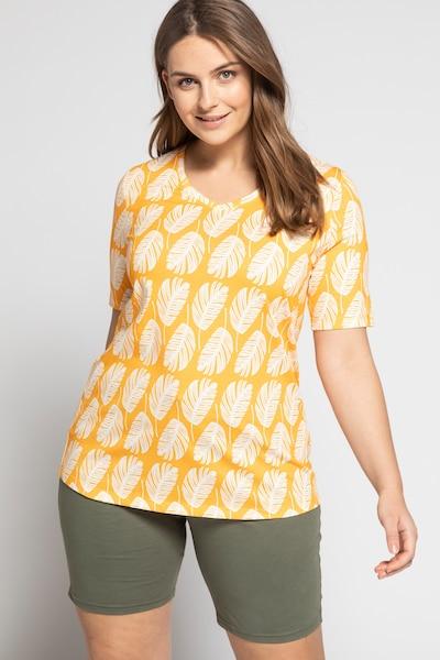 Ulla Popken Shirt in gelb / weiß: Frontalansicht