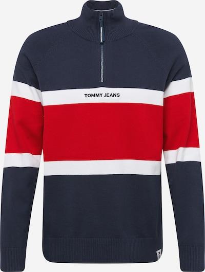 Tommy Jeans Pull-over en bleu marine / rouge feu / blanc, Vue avec produit