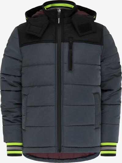Petrol Industries Winterjas in de kleur Grijs / Neongroen / Zwart, Productweergave