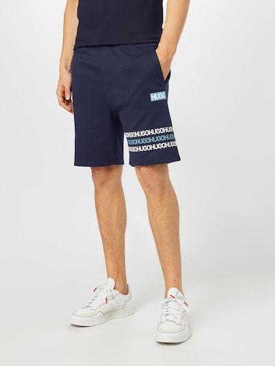 HUGO Pantalon 'Dakumi' en bleu marine / bleu fumé / blanc, Vue avec modèle