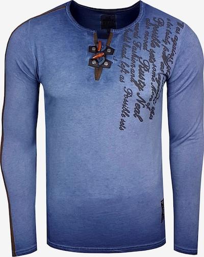 Rusty Neal Langarmshirt in dunkelblau / schwarz, Produktansicht