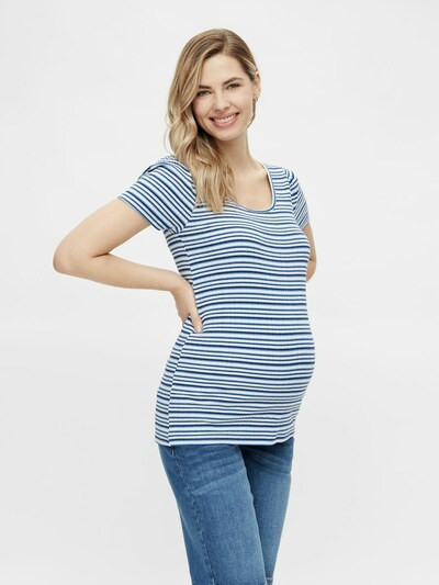 MAMALICIOUS T-shirt 'Anna' en bleu marine / bleu fumé / blanc: Vue de face