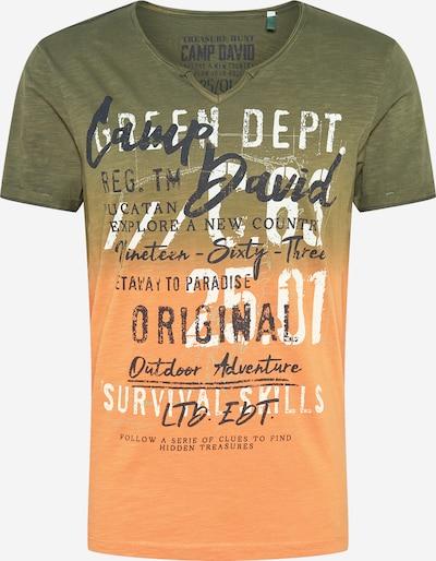 CAMP DAVID T-Shirt en gris basalte / kaki / abricot / blanc, Vue avec produit