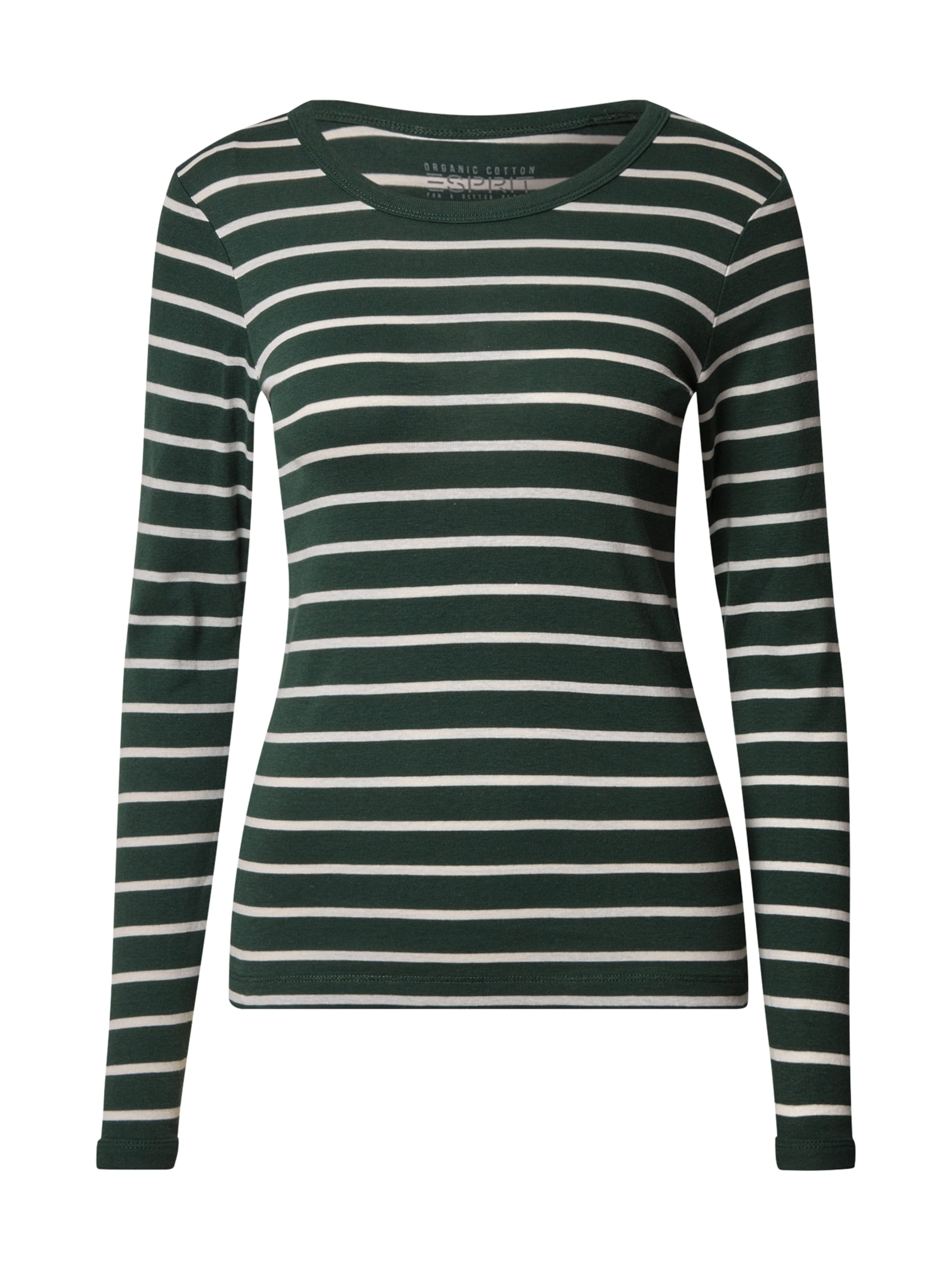 ESPRIT Shirt in dunkelgrün / weiß