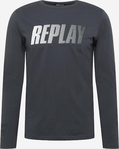 REPLAY Μπλουζάκι σε γκρι βασάλτη / λευκό, Άποψη προϊόντος