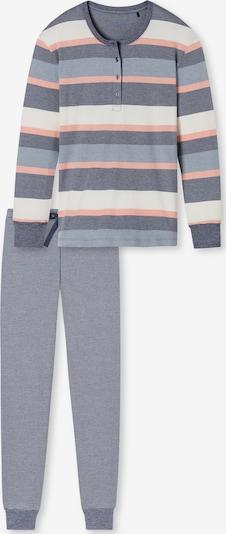 SCHIESSER Pyjama ' Sportive Stripes ' en gris / orange / blanc cassé, Vue avec produit