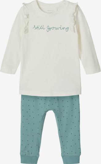 NAME IT Langarm T-Shirt und Hose in grün / weiß, Produktansicht
