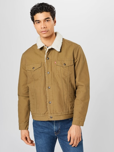 LEVI'S Jacke 'TYPE 3 SHERPA TRUCKER' in khaki: Frontalansicht