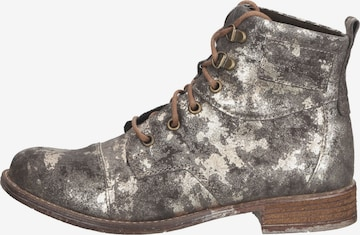 JOSEF SEIBEL Lace-Up Ankle Boots in Silver