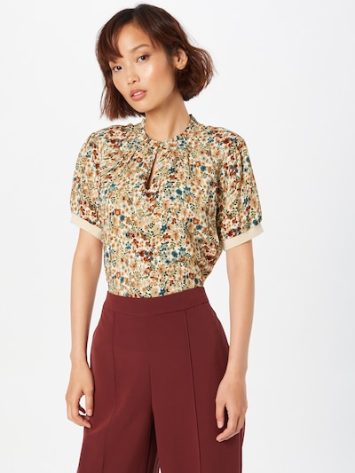 MORE & MORE Blouse in Sand / Brocade / Olive / Petrol / White, View model