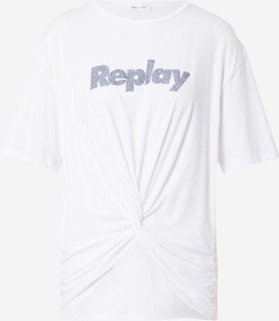 Tricou REPLAY pe argintiu / alb: Privire frontală