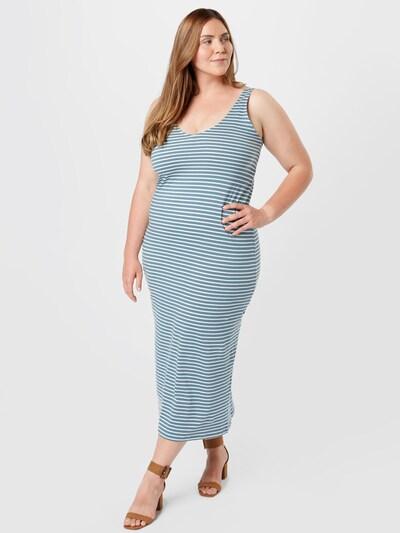ONLY Carmakoma Kleid 'April' in himmelblau / weiß, Modelansicht